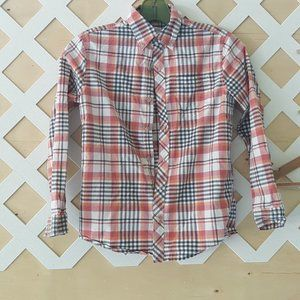 Faded Glory plaid button down shirt size M(7-8)